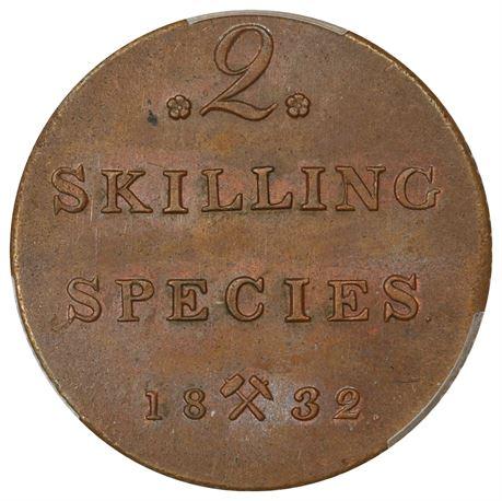 2 Skilling 1832 Kv 0/01, PCGS MS62BN