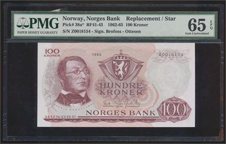100 Kroner 1962 Z 0-million Kv 0, PMG 65