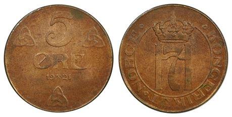 5 Øre 1921 Kv 0, liten flekk