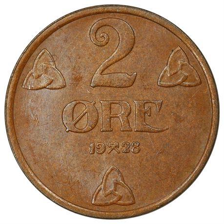 2 Øre 1928 Kv 0/01