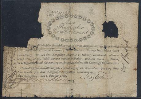 1 riksdaler 1807, assignasjonsbevis
