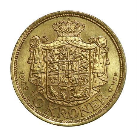 Danmark 10 Kroner 1908 Kv 0/01