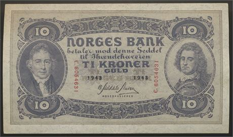 10 Kroner 1943 C Kv 01