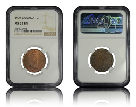 Canada 1 Cent 1902 NGC MS64BN