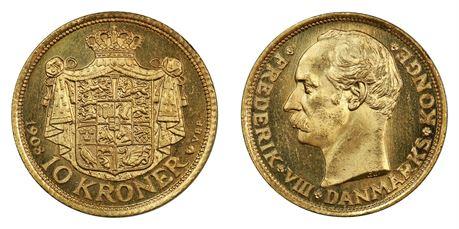 Danmark 10 Kroner 1908 Kv 0/01, speilflater