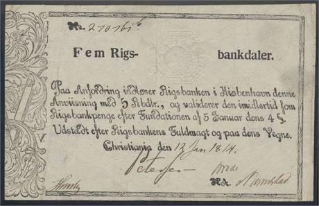 5 riksbankdaler 1814 litra b Kv 1