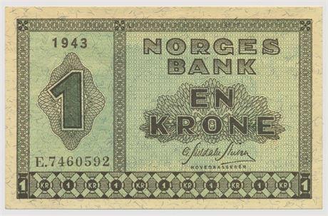 1 Krone 1943 E7460592 Kv 0/01 *KORRIGERT*