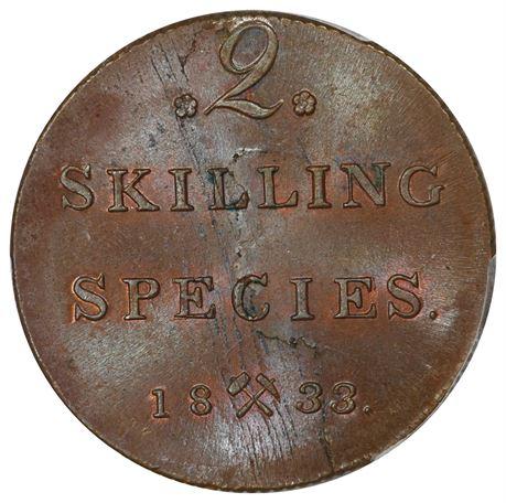 2 Skilling 1833 Kv 0, PCGS MS63BN
