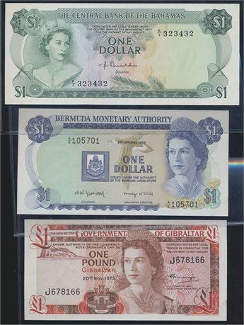 Bahamas, Bermuda og Gibraltar. 3 forskjellige sedler 1974-1982 Kv 0/01
