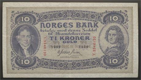 10 Kroner 1939 Y Kv 1/1+