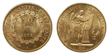 Frankrike 20 Francs 1895A Kv 0/01