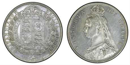 England Halfcrown 1889 Kv 0/01
