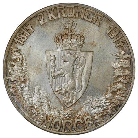 2 Kroner 1914 Mor Norge Kv 0, PCGS MS65