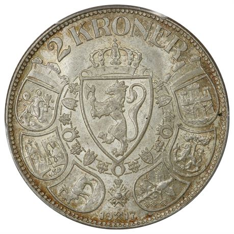 2 Kroner 1917 Kv 0, PCGS MS65