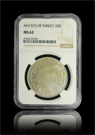Turkey 20 Kurush 1327//8 NGC MS62