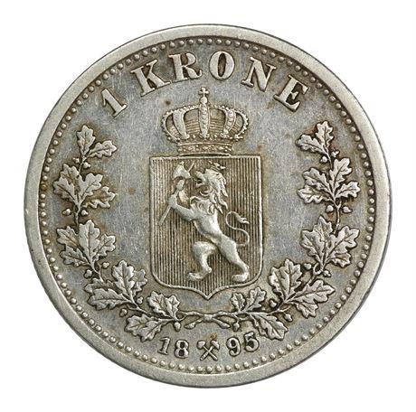 1 Krone 1895 Kv 1+, lett renset