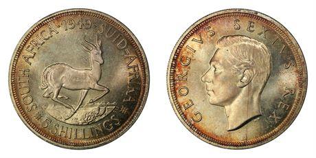 Sør Afrika 5 Shillings 1949 Prakt
