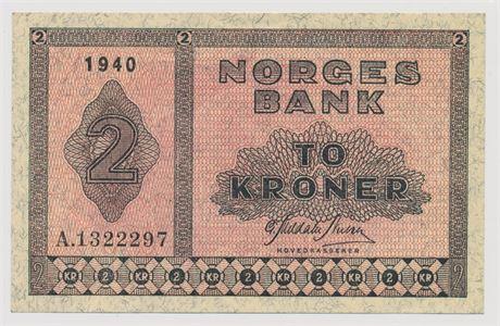 2 Kroner 1940 A1322297 Kv 0/01