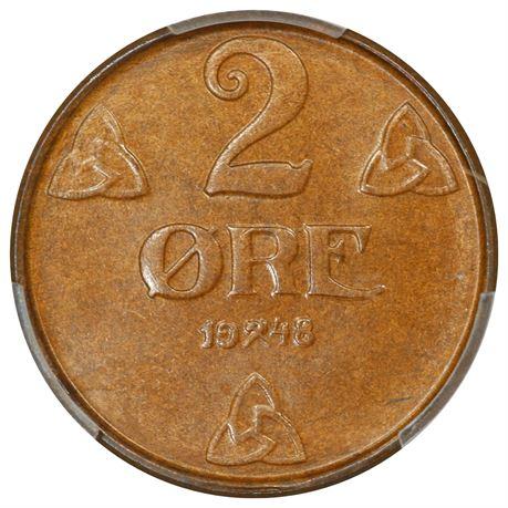 2 Øre 1948 Kv 0, PCGS MS65BN
