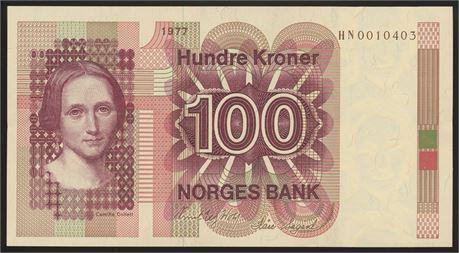 100 Kroner 1977 HN Erstatning Kv 0