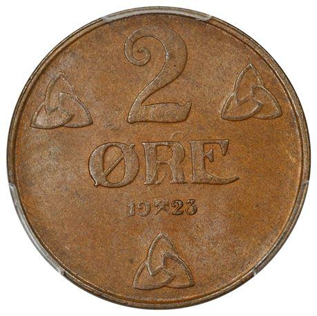 2 Øre 1923 Kv 0,PCGS MS64BN
