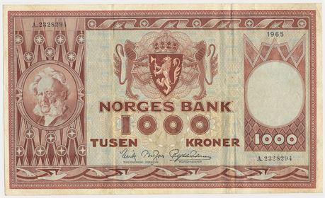 1000 Kroner 1965 A2328294 Kv 1/1-