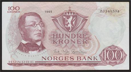 100 Kroner 1965 Z 0-million Kv g1+