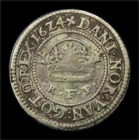 Danmark 1/2 Krone 1624 Kv 1