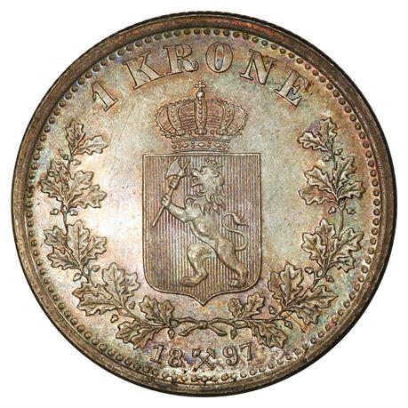 1 Krone 1897 Kv 0, vakker toning