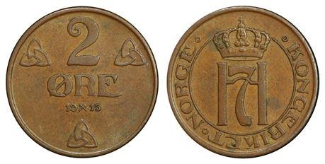 2 Øre 1915 Kv 1+/01