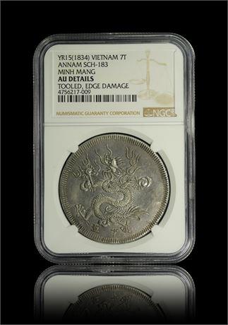 Vietnam 7 Tien YR15(1834) NGC AU-Details