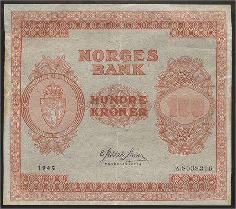 100 Kroner 1945 Z8-million Kv g1+
