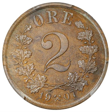 2 Øre 1907 Kv 0, PCGS MS64BN