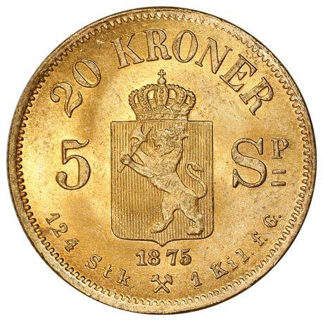 20 Kroner / 5 Sp. 1875 Kv 0/01