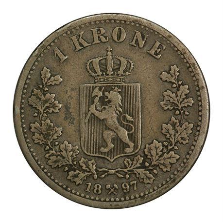 1 Krone 1897 Kv 1, tynne riss