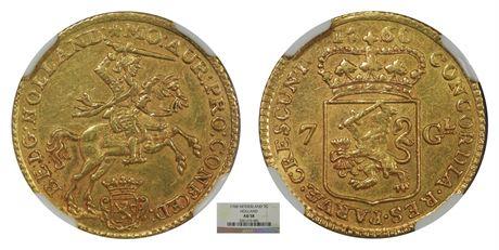 Holland 7 Gulden 1760 NGC AU58
