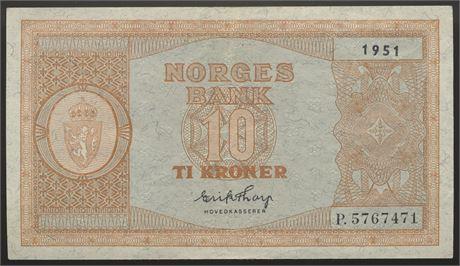 10 Kroner 1951 P Kv 1+