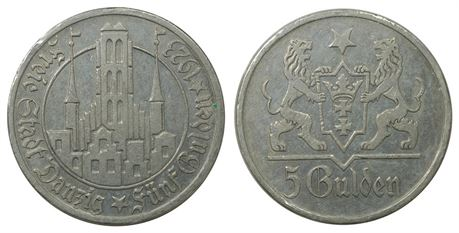 Danzig 5 Gulden 1923 Kv 1+/01