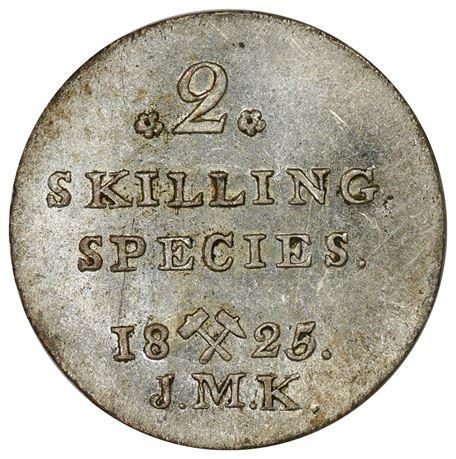 2 Skilling 1825 Kv 0/01