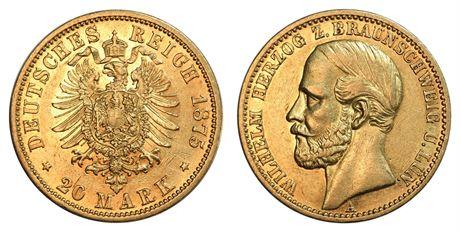 Braunschweig-Lüneburg 20 mark 1875 A Kv AU
