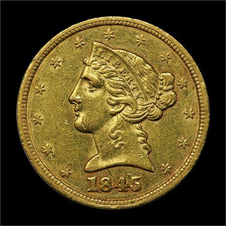 USA 5 Dollar 1845 Kv 1+/01