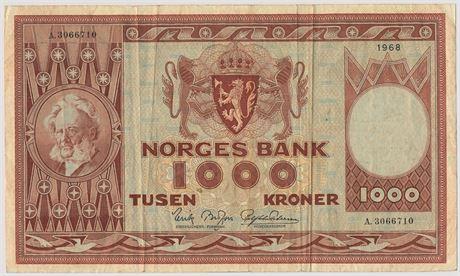 1000 Kroner 1968 A3066710 Kv 1/1-
