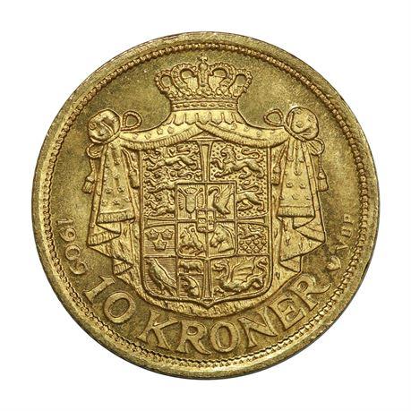 Danmark 10 Kroner 1909 Kv 0/01