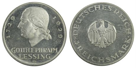 Germany 3 Mark 1929G Lessing Proof