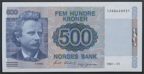 500 Kroner 1991 Kv 0