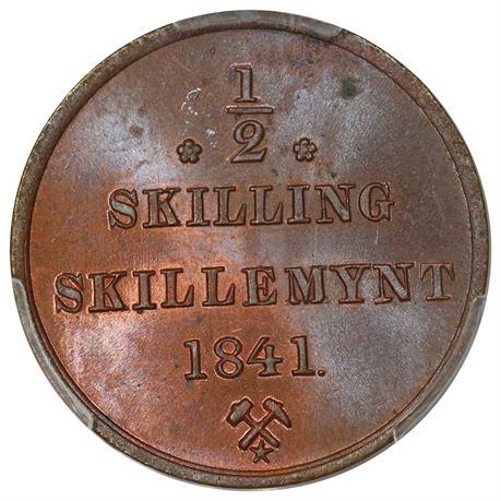 1/2 Skilling 1841 Stj. Kv 0, vakker PCGS MS64RB
