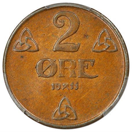 2 Øre 1911 Kv 0/01, PCGS MS64BN