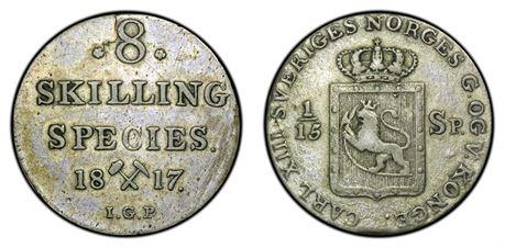 8 Skilling 1817 Kv 1+, riss