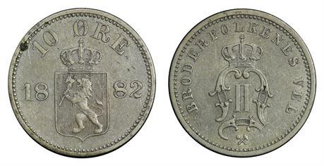 10 Øre 1882 Kv 1+