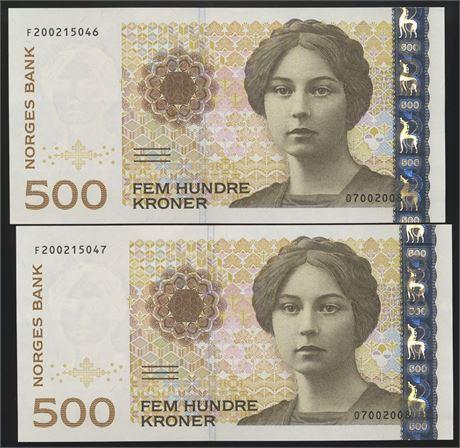 500 Kroner 2008 F, 2 stk. i Nummerrekkefølge Kv 0